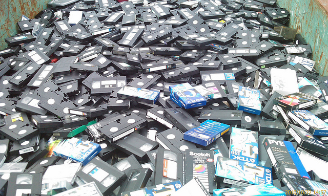 videotape pile
